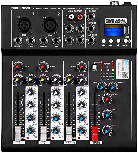 HT4 Professional 4 Kanäle DJ Audio Mixer Konsole mit USB-MP3 Jack Live-Audio Sound Mixing DJ-Equipment for Karaoke KTV Music Show