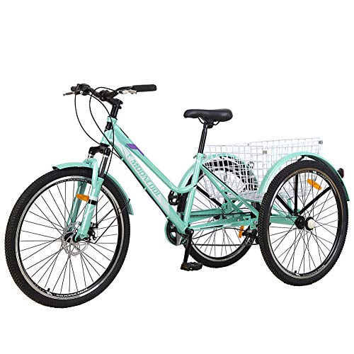 MOPHOTO Mountain Tricycle for Adults, 3 Wheeled 7-Speed Mountain Tricycle 24 inch 26 inch Men's Women's Tricycles Cruiser Bike Featuring Disc Brakes, Adjustable Handlebar, Basket