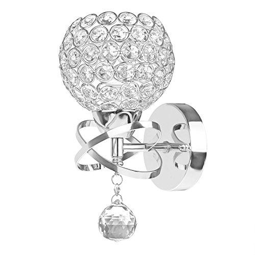 ALLOMN Moderne Stil Kristall Anhänger Wandleuchte Schlafzimmer Gang Wohnzimmer Wandleuchte Halterung E14 Sockel Silber