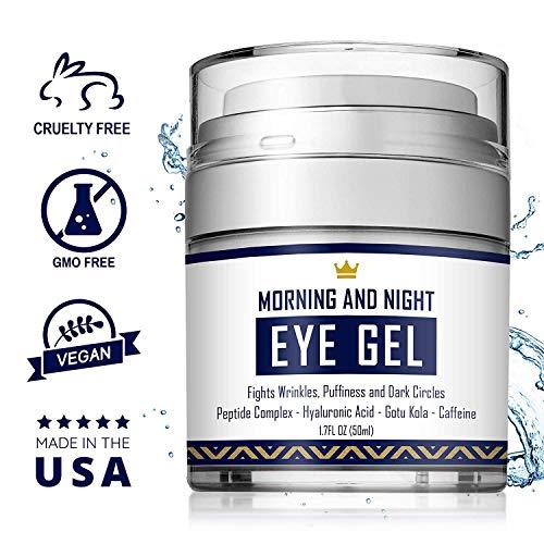 51j4AOL1P8L - Eye Cream - Dark Circles & Under Eye Bags Treatment - Reduce Puffiness, Wrinkles - Effective Anti-Aging Eye Gel with Hyaluronic Acid, Gotu Kola Extract and Caffeine - Refreshing Serum - 1.7oz