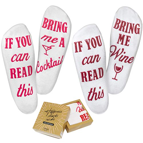Wine Socks (2 Pack) - 'If You Can Read This Bring Me A Glass Of Wine' Bonus 'Cocktail' Pair, Luxury Cotton - Perfect Mothers Day Gift, Birthday, Valentines Day Or Housewarming Funny Gift For Women