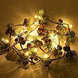 Hongyitime 7.8 FT PineCones String Lights, christmas pine cone light string, 20 LED Red Berry Pine Cone Garland Lights, led Garland String Lights, Christmas Decorations for Home, Garland for Fireplace