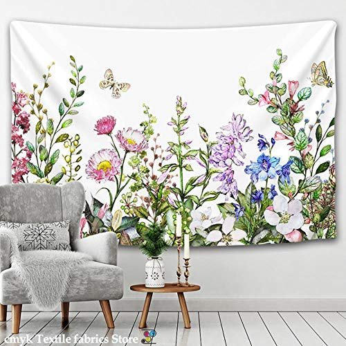 Tapiz de flores con diseño de mariposas, estilo nórdico, estilo hippie, para colgar en la pared, colcha bohemia para decoración de dormitorio