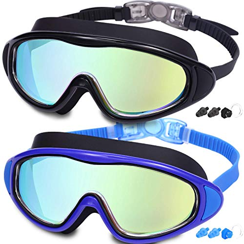 2-Pack Adult Swim Goggles, Wide Vision Swim Goggles for Men Women Youth, No Leaking Anti Fog
