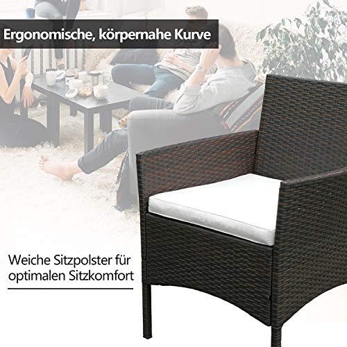 Hengda Polyrattan Lounge Sitzgruppe für 4 Personen inkl. Sitzpolster und Tisch, Braun, Komfortabel Gartenmöbel Terrassenmöbel für Balkon, Garten, Terrasse - 3
