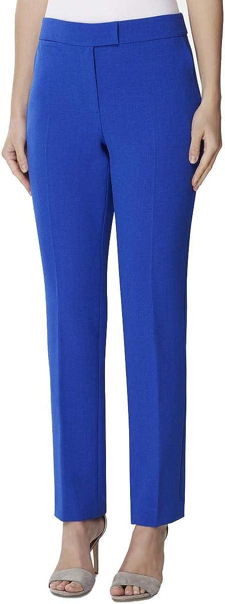 TAHARI Womens Blue Straight Leg Wear to Work Pants Size 0P