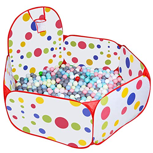 Portable Kids Ball Tent Peuter, Indoor & Outdoor Kleurrijke Hexagon Polka Dot Box Ball Pit Pool Met Basketbalbasket Rits Storage Bag (Ballen Niet Inbegrepen),150cm