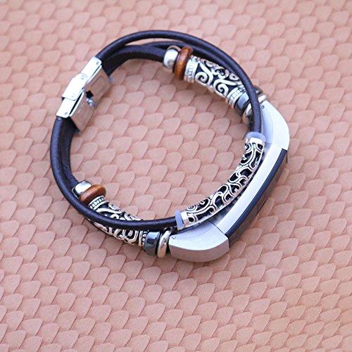 Eariy Ersatz-Armband aus Leder Kompatibel mit für Fitbit Alta/Fitbit Alta HR,Handgemachtes ethnisch gewebtes uhrenarmband,einzigartiges Design