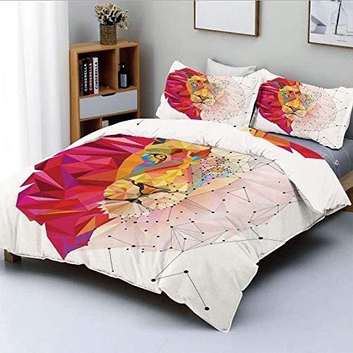 Juego de funda nórdica, gráfico geométrico de Lion Head Art en triángulo digital Patrón de arco iris Decoración retro Juego de cama de 3 piezas decorativo con 2 fundas de almohada, blanco rosa naranja