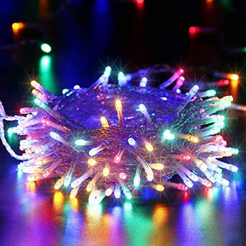 BrizLabs Luci di Natale Multicolor 10M 100 LED Luci Stringa 8 Modalità Impermeabile Cavo Trasparente Catena Luminosa Interno Decorazioni Natalizie per Giardino, Albero di Natale, Matrimonio