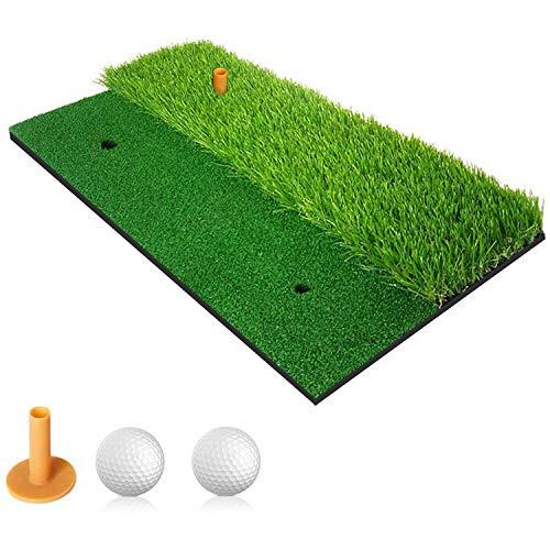 Golf Alfombras de Práctica 2 en 1, Alfombrilla de golf para Ejercicio, Alfombra de césped para entrenamiento en interiores / exteriores, almohadilla de entrenamiento con un tee de goma y dos pelotas
