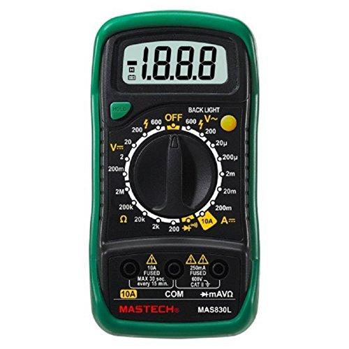 """Mastech MAS830L Digital Multimeter, 9 Function, 2000 Count, 5.7"""" H x 3.0"""" W x 1.4"""" D"""
