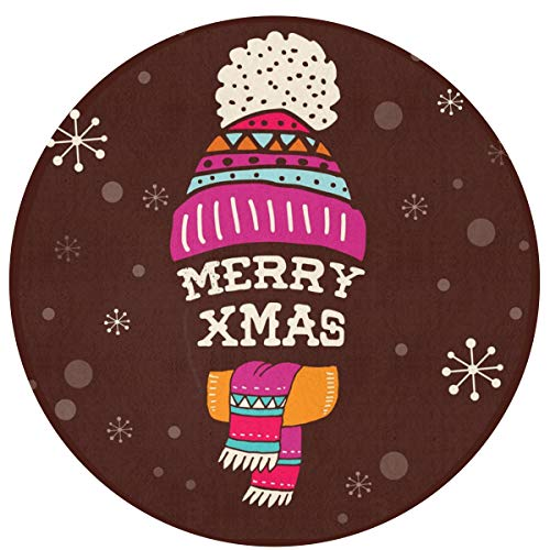 HMYATSO Merry Christmas Hat Design Non Slip Absorbent Doormat Resist Dirt Front Door Mat 4060