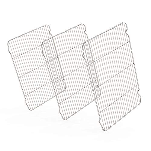 Stainless Steel Cooling Racks 3 Pack, Zacfton Baking Racks Set 3 for Cooking Baking Roasting Grilling Cooling, Fit Various Size Cookie Sheets Oven & Health & Dishwasher Safe