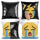 Emoji crying Photo Sequin Pillow Case Personalized Sequin Pillow Personalized Pillow Gift For Her Nursery Decor Pillow Case Birthday Gift