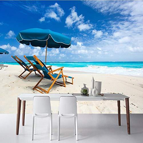 Tv achtergrond muurschildering foto behang blauw hemel liefde zee strand ligstoel muurschildering woonkamer tv achtergrond muur aangepast restaurant behang 200 * 140cm