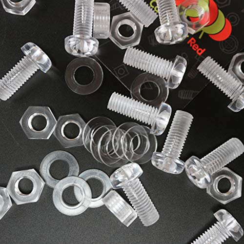 Paquete de 10 tornillos y tuercas, Arandelas, transparentes, de plástico acrílico. M8...