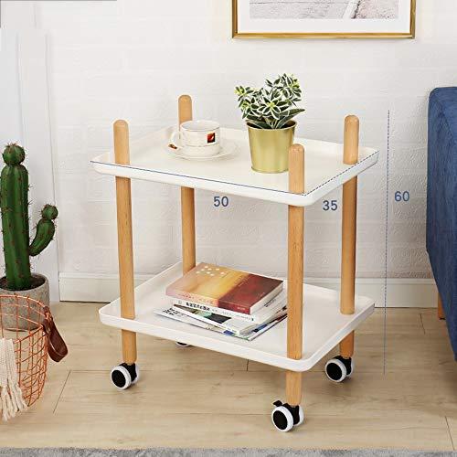 HAKN Petite Table Basse Mobile, Petite Table Basse carrée et étagère Multifonctions pour Chariot de Cuisine 2 Couches Table Portable (Couleur : Blanc, Taille : 50 * 35 * 60cm)