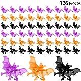 126 Stücke Halloween Fledermaus Ringe Kunststoff Schwarze Fledermaus Ringe Zubehör für Halloween Party Lieferungen, Schwarz, Orange, Lila