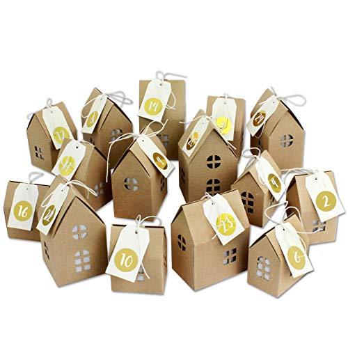 Adventskalender Häuser zum Basteln und Befüllen - mit goldenen Zahlenaufklebern - 24 naturbraune Schachteln aus 400g/m²-Karton zum Aufstellen - 24 Boxen - Weihnachtsdorf Set - wiederverwendbar