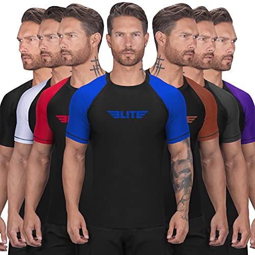 Elite Sports New Item Standard Short Sleeve Compression, Mma, Bjj, No Gi, Cross Training Rash Guard, Large, Blue