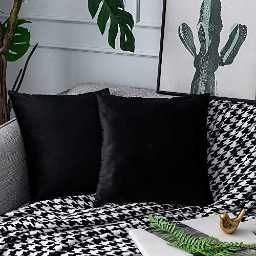 UPOPO Juego de 2 fundas de cojín de terciopelo, decorativas, monocolor, para sofá, dormitorio, salón, con cremallera, 60 x 60 cm, color negro