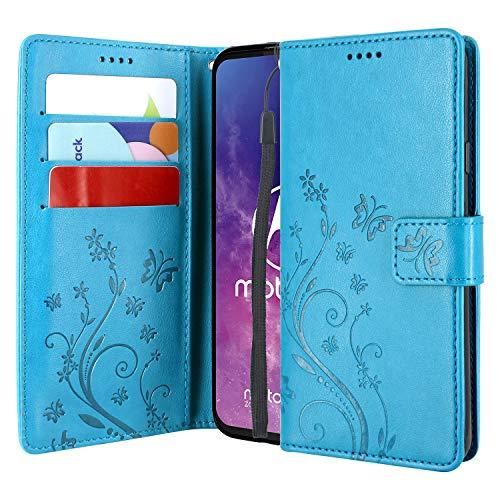 CMID Motorola One Zoom Hülle, Ständer PU Leder Brieftasche Handytasche Flip Bookcase Schutzhülle Cover mit Handschlaufe für Motorola Moto One Zoom/One Pro (Blau)