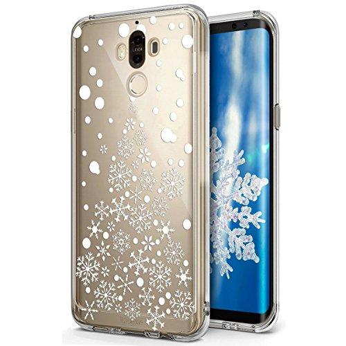 für Huawei Mate 9 Hülle Schutzhülle Silikon Transparent mit Weihnachten Schneeflocke Hirsch Muster Handyhülle Durchsichtige Backcover TPU Case Tasche Etui Bumper, Weißer Weihnachtsbaum Schneeflocke