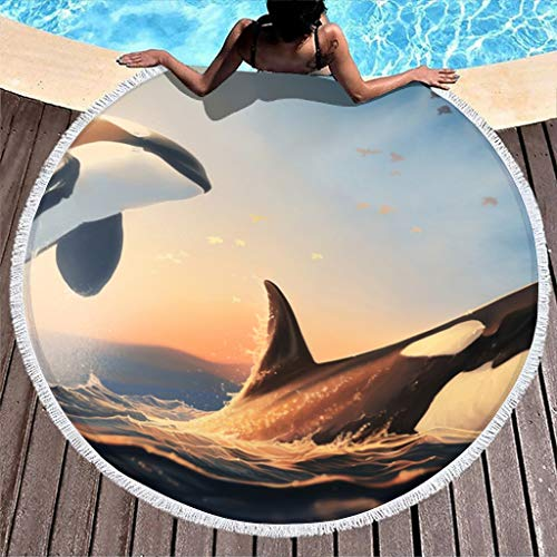 MINNOMO Fantasy Orca Ballena saltando del agua Toalla de playa redonda con borlas de verano microfibra sarong Pareo blanco 150 cm