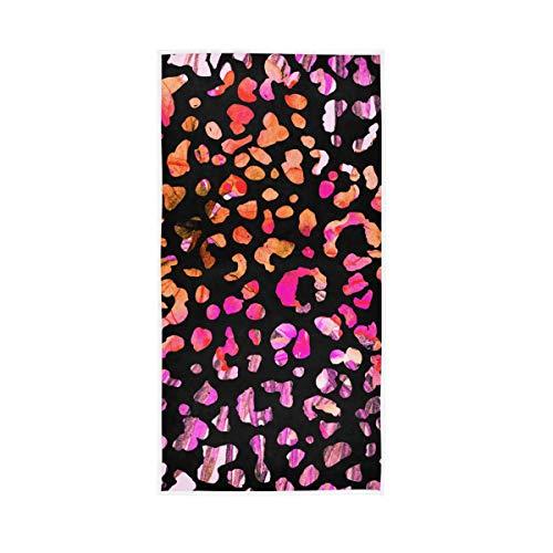 Rootti - Toalla de mano de algodón, diseño de leopardo, lavable, toalla de cara, suave, transpirable, toalla para el sudor, toalla para el sudor, juego de toallas para nadar hotel
