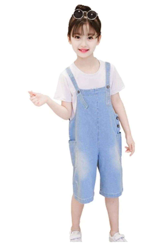 YINUO 女の子 男の子 夏 デニム 吊りスカート ショート パンツ 男女兼用 オールインワン サスペンダー カジュアル サロペット