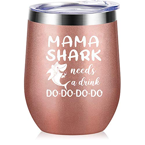 Tom Boy Mom Gifts - Mama Shark Needs A Drink - Mom Birthday Gifts from Daughter, Son – Valentines Day, Christmas Gifts for Mom, Wife, New Mom, Pregnant Mom - Mommy Shark Wine Tumbler Mug 12oz