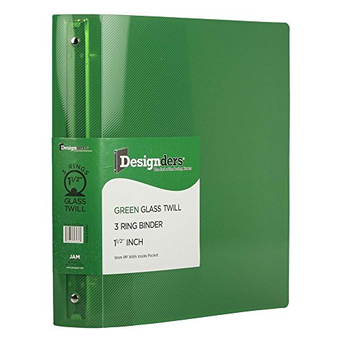 JAM PAPER Plastic 1.5 inch Binder - Green 3 Ring Binder - Sold Individually