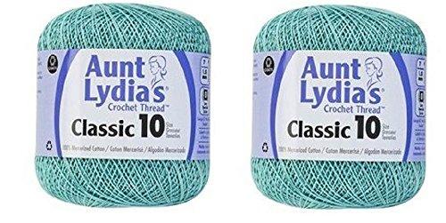 Aunt Lydia's Crochet Thread - Size 10 - Aqua (2-Pack)