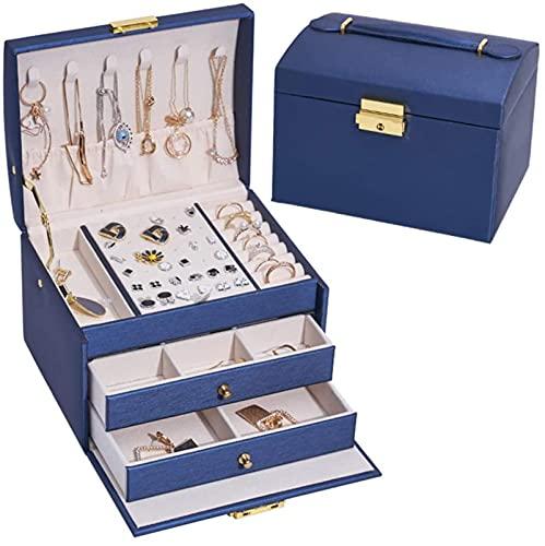 HKHJ Joyero para mujer, organizador de joyas de cuero PU de 3 capas con cerradura Estuche portátil de viaje para joyas para anillos, pendientes, collares, pulseras