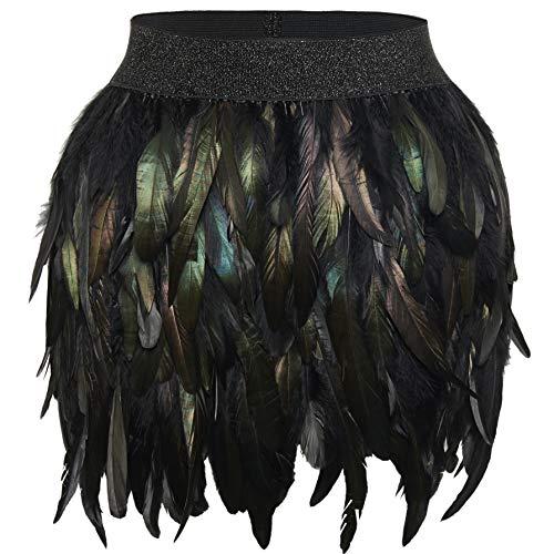 Coucoland Veer Cape Shrug Sjaal Wrap voor Vrouwen Gotische Stijl Zwarte Veer Schouder Cape Schouder Decoratie Halloween Carnaval Kostuum Accessoires