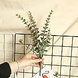QILIN Flores Artificiales De Eucalipto, Real Touch Leaf Artificial Eucalyptus Stem Faux Eucalyptuses Boda Ramo Centro Decoración del Hogar (Verde)