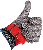 HHYSPA Safety Cut Proof Stab Resistant Stainless Steel Gloves, Metal Mesh Butche...