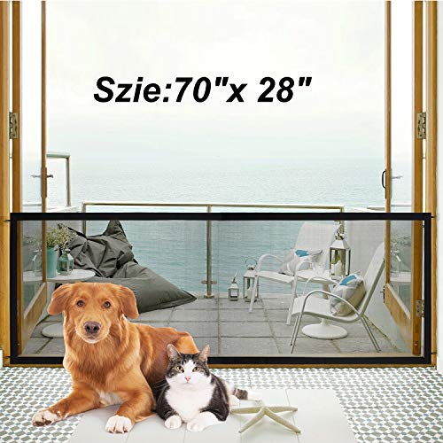 Magic Gate for Dogs Pet Indoor Gate Dog Mesh Gate Safety Guard Gate for Stairs Outdoor and Doorways Safety Enclosure Pet Isolation Net Baby Safety Fence Install Anywhere As Seen As On TV
