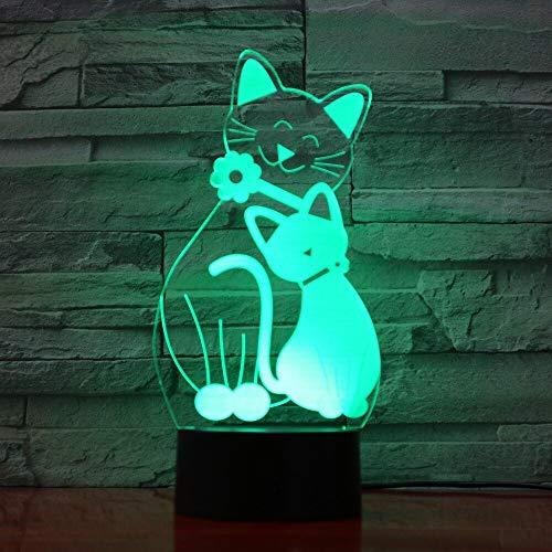 jiushixw Luz de Noche de acrílico 3D con Control Remoto lámpara de Mesa Que Cambia de Color lámpara de Mesa Hippie lámpara de Gato Linda lámpara de Noche cambiante lámpara de Mesa