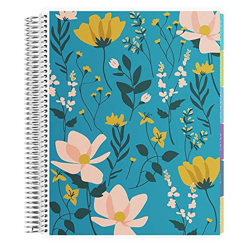 Erin Condren 12 - Month 2021 Teacher Lesson Planner 8.5x11 (January - December 2021) - Wild Flowers Cover with Oh So Retro Interior Design with List of Subjects, Student Name List and Checklist