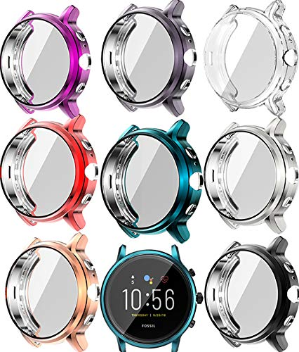 TenCloud Covers Compatible with Fossil Gen 5 Carlyle Watch Case Accessories Full Protective Cover for Carlyle Gen 5 (Not Fit for Julianna) (8Colors)