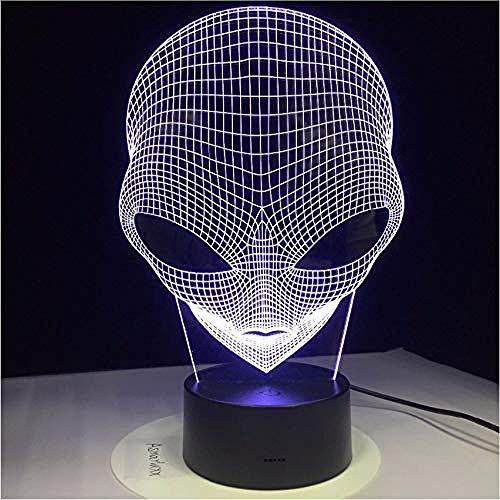 Lámpara de mesa con luces nocturnas 3D 1 pieza 7 colores Changing The Illusion Lámpara de forma extraterrestre 3D Strange Eye Luz de acrílico nocturna con lámpara de interruptor táctil