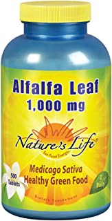 Nature's Life Alfalfa Leaf Tablets 1000mg | Vitamin Rich Green Superfood | Non-Gmo | 500 Count