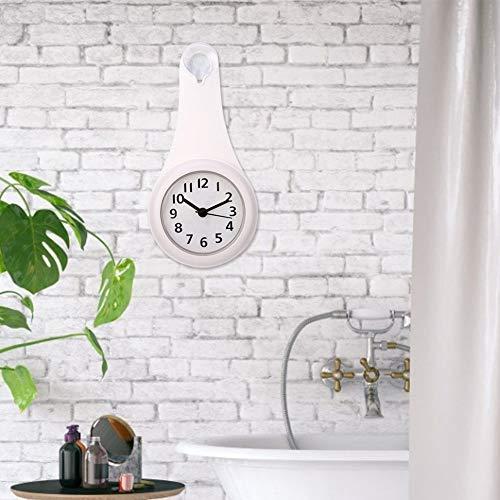 Langlebig und zuverlässig mit Sucker Badezimmer Duschuhr, Duschuhr, Badezimmeruhren Wanddekoration für Badezimmer, Küche, Schlafzimmer(white)