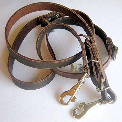 Kej Führleine Hundeleine Leder braun 25mm breit, 220cm lang, 3-Fach verstellbar