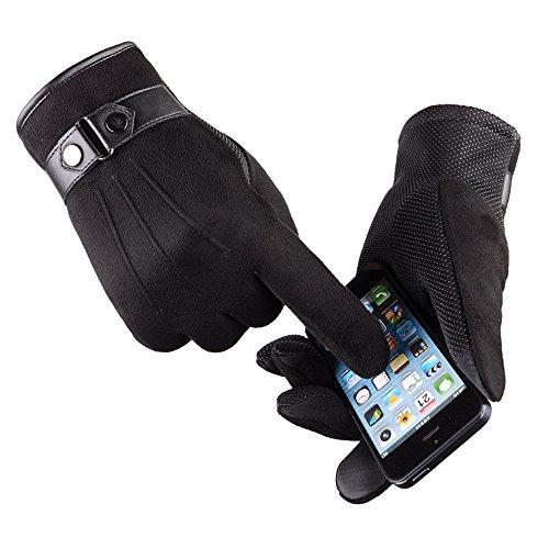 VENMO Anti Slip Männer warme Motorrad Ski Snow Snowboard Handschuhe Herren Hirschleder Touchscreen Handschuhe Lederhandschuhe für fahren Motorrad Radfahren Ungefüttert Handschuhe (Black)