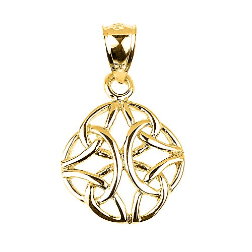 High Polished 10k Solid Yellow Gold Celtic Trinity Knot Charm Pendant