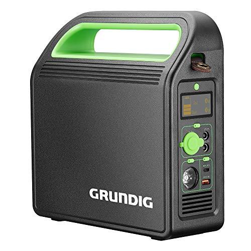 GRUNDIG Tragbarer Power Station, 324Wh/90000mAh 220V Akku Generator Mobiler Energiestation mit AC/2 USB/3 DC-Port/Autoladegerät-Ausgänge, Solar-fähiger Generator für Outdoor Camping Emergency Backup