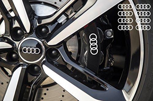snstyling.com Aufkleber passend für Audi Ringe Bremssattel Felgen Spiegel Fenster Aufkleber 8 Stück 70mm (Weiss)